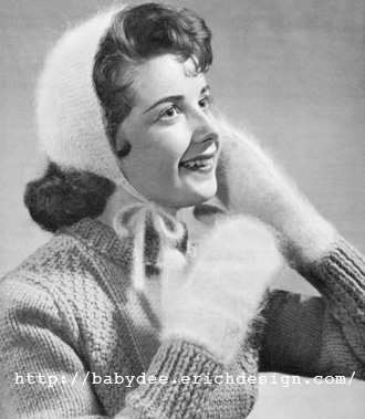 Free Vintage Knitting Patterns 1950s : The Vintage Pattern Files: 1940s Knitting - Cosy Cap & Mitts in Angora