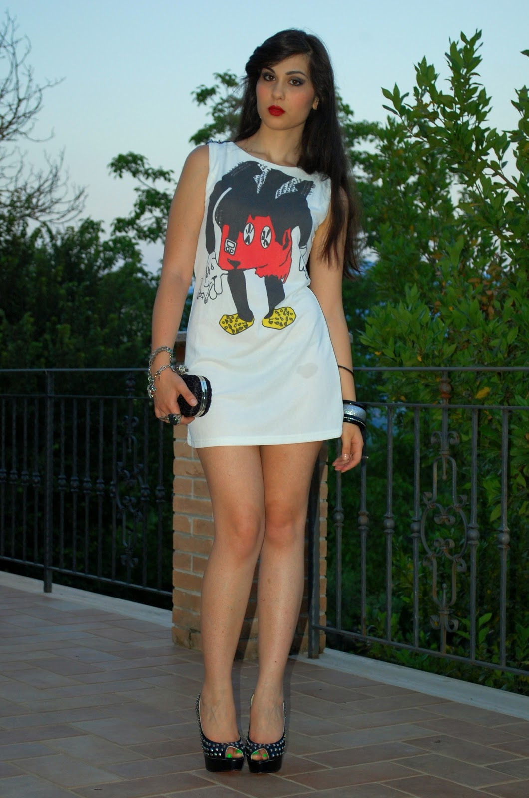 In The Jungle Of Fashion Is That Mickey Mouse Tendencies Tshirt Uk Punk Cokelat Tua S Link Http Maykoolcom Dresses Catoon Printed Round Neck Rivets Decor Dress 005540html I Hope You Like This Look