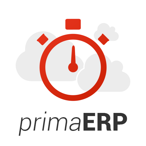 Logo of primaERP - clouds and stopwatches