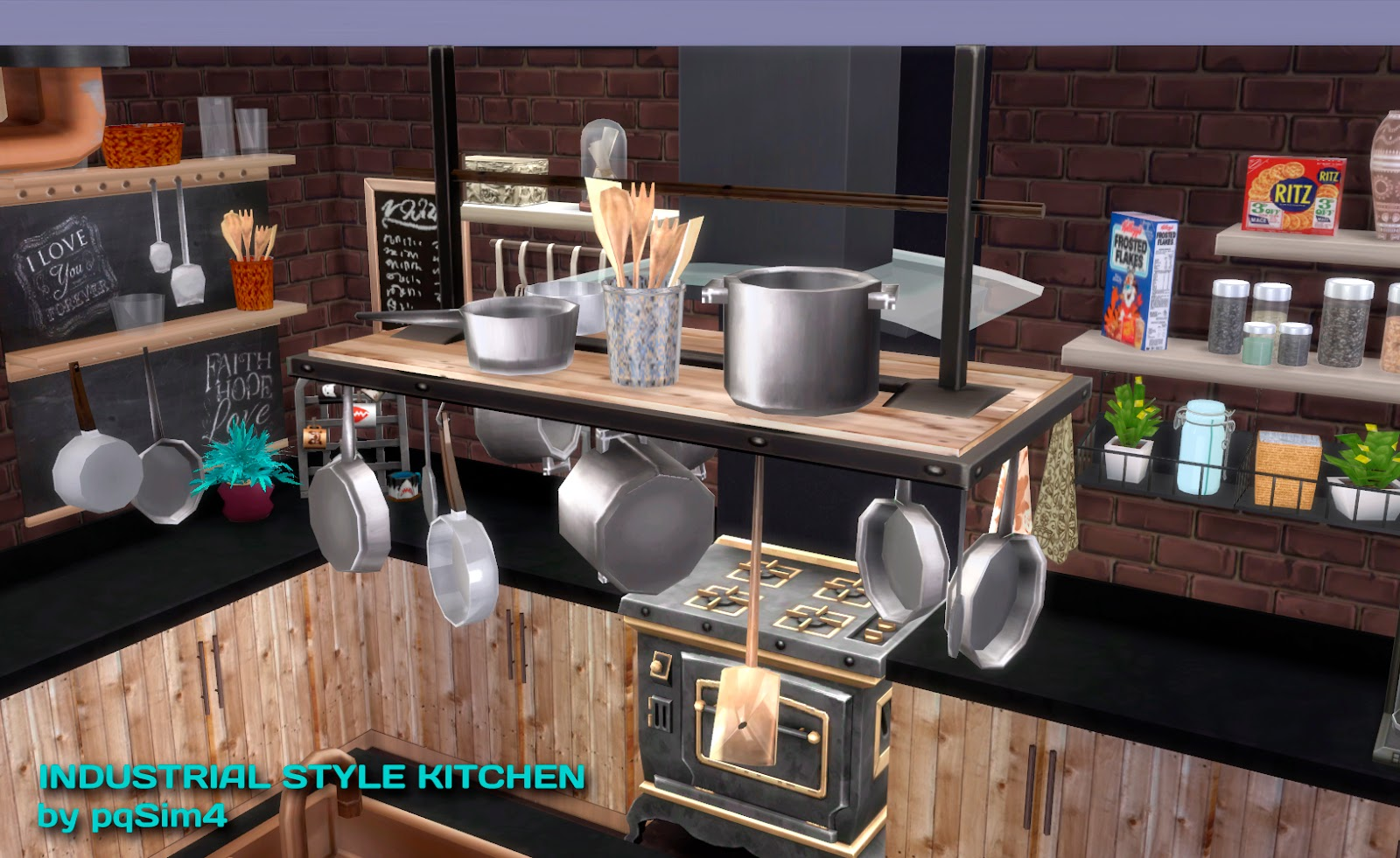 Sims 4 industrial style kitchen for Sims 4 kitchen designs