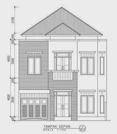 Sketsa denah rumah 2 lantai tampak depan