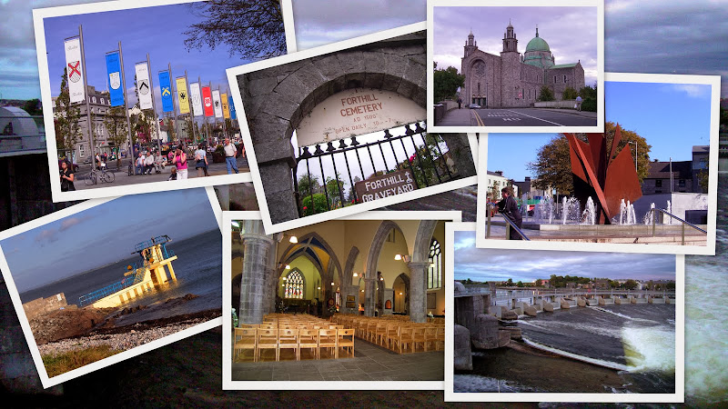 Things to do in Galway City - collage of Eyre Square, Forthill Cemetery, St Nicholas Cathedral, Martin Fountain, the salmon race, Augustinian church, Salthill diving board