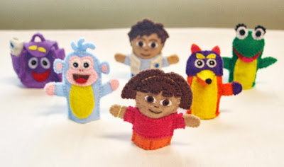 The cast of Dora the Explorer in felt finger puppet form, handmade by Joanne Rich.