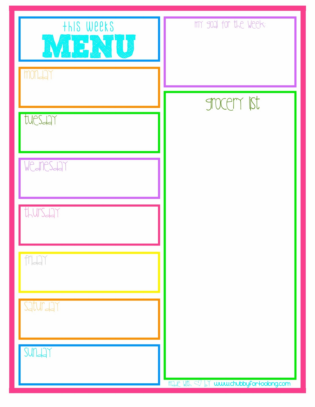 Transformative image inside menu printable