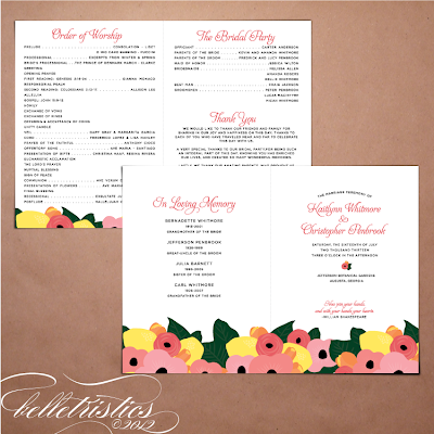 printable diy hand drawn floral citrus wedding ceremony booklet program