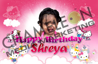 Hello Kitty Themed Birthday Banner with child photo