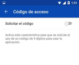Crear contraseña para acceder a OneDrive App
