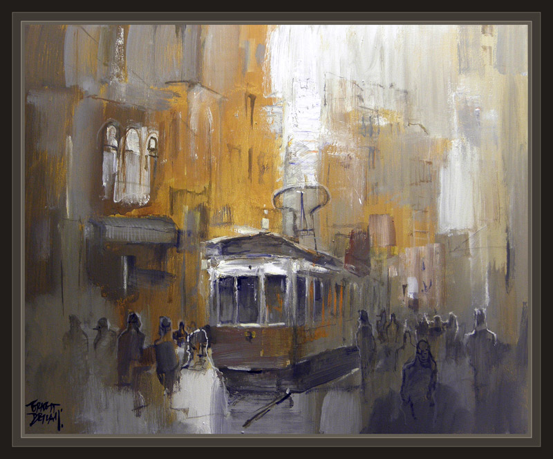 ESTAMBUL-ISTANBUL-ART-ARTE-PINTURA-TRANVIA-PAINTINGS-TRAM-ERNEST DESCALS-