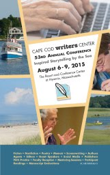 Cape Cod Writers Conference August 6 to 9, 2015