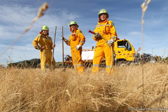 L-R: Yvonne Steers, Maree Simpson, Kerry Young, volunteer firefighters with Maraekakaho Volunteer Rural Fire Force, pictured in long dry browned-off grass, for a story about a restricted fire season. photograph