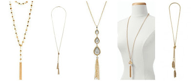 Charlotte Russe Layered & Beaded Tassel Necklace $4.00 (regular $6.00)  Wallis Gold Knot and Tassel Necklace $12.00 (regular $18.00)  Carol Dauplaise Triple Teardrop Necklace $17.99 (regular $38.00)  Talbots Pearl Bead Tassel Necklace $20.99 (regular $49.50)  BaubleBar Iced Lariat Pendant $26.00 (regular $36.00)