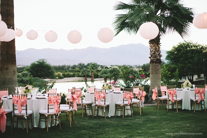 """lanterns and pink decor for chic desert wedding"""