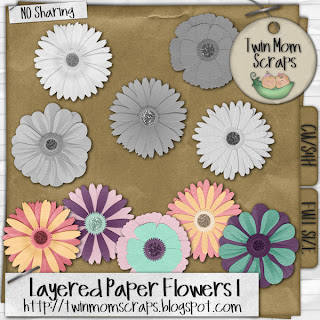 Twin mom scraps digital scrapbook kits and freebies cu paper i have 2 new sets of layered paper flowers mightylinksfo