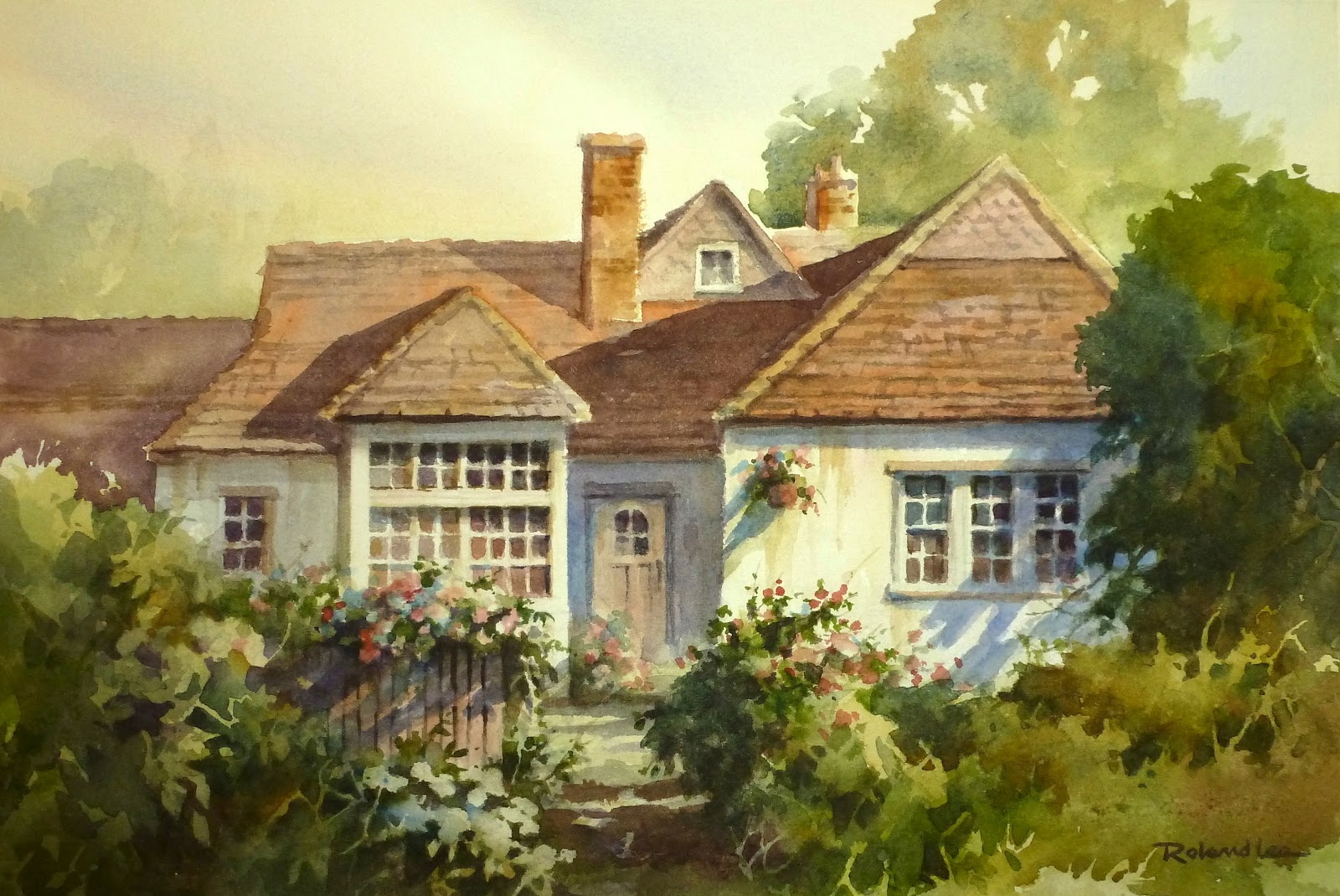 Roland lee travel sketchbook demonstration watercolor for Watercolor cottages