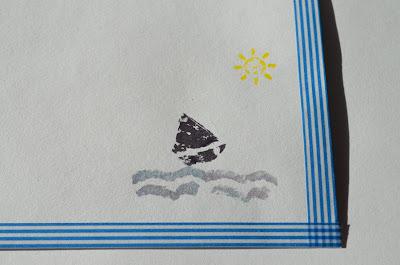 envoltorio sello de corcho barquito y mar