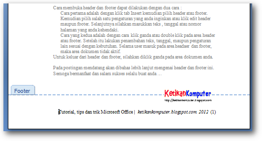 header dan footer ms word 2007