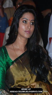 Sneha in Green SIlk saree