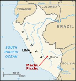 Ubicación de Machu Picchu, documentada por la Agencia de Inteligencia Estadounidense, CIA.