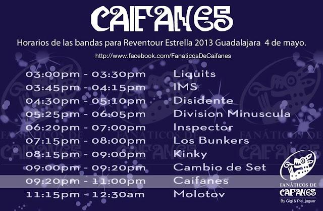 Horarios extraoficiales Reventour Estrella 2013
