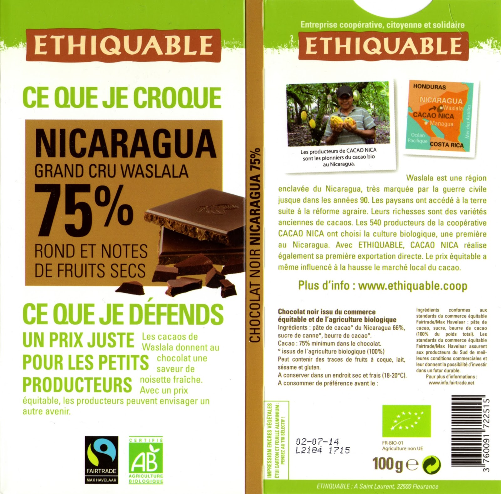 tablette de chocolat noir dégustation ethiquable nicaragua grand cru waslala 75