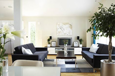 Cool White Minimalist Living Room Design