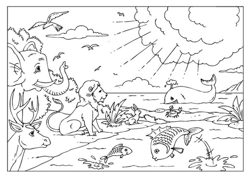 Dibujo para colorear sobre la creacion del mundo - Imagui
