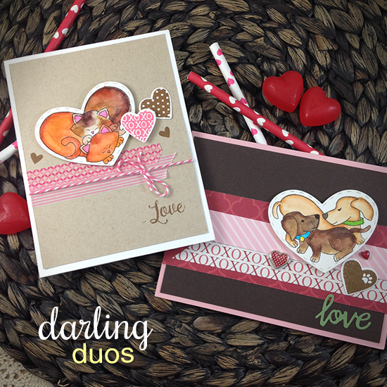 Kitty and Puppy Heart Valentine Cards by Jennifer Jackson | Darling Duos Stamp Set by Newton's Nook Designs #newtonsnook