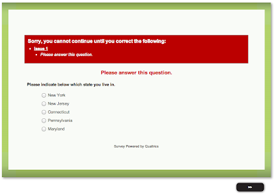 Qualtrics survey error message