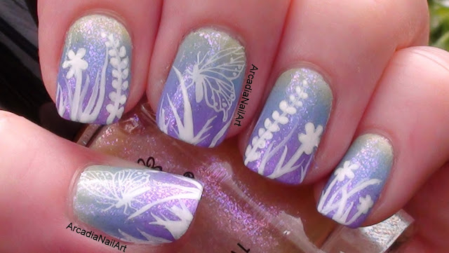 Ombre Summer Flower Gradient with Butterfly