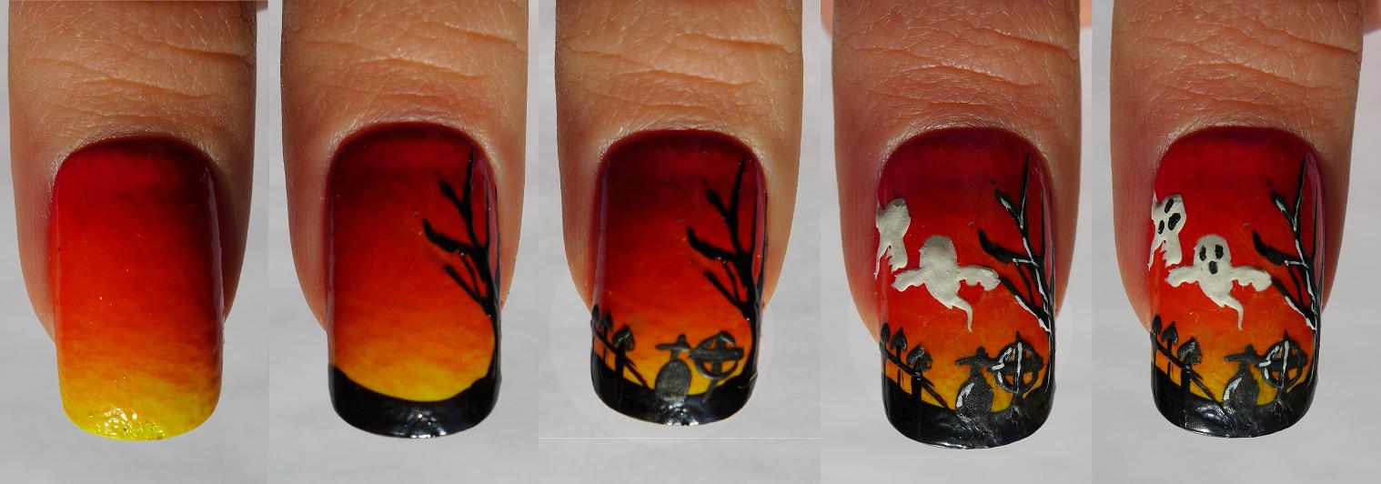 Brush me Blush: 30 Days of French Twist, day 11-Halloween Nail Art