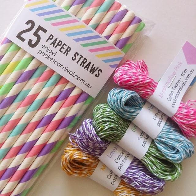 Pastel Paper Straws & Twine
