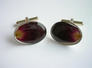 Real rose petal cufflinks