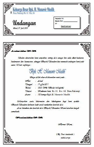 Beberapa jenis undangan yang kamu butuhkan ada disini tinggal download ...