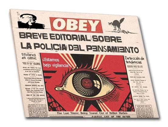 Cómic front pages sobre la policia de pensamiento en Venezuela