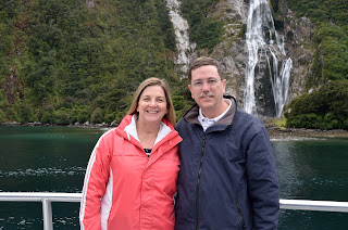 Tom and Margot Savage at Lady Bowen Falls on Milford Sound in New Zealand