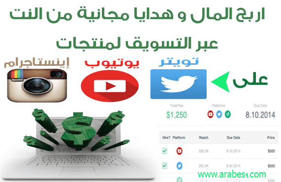 موقع famebit لربح المال و الهدايا عبر التسويق لمنتجات على YouTube Instagram Twitter