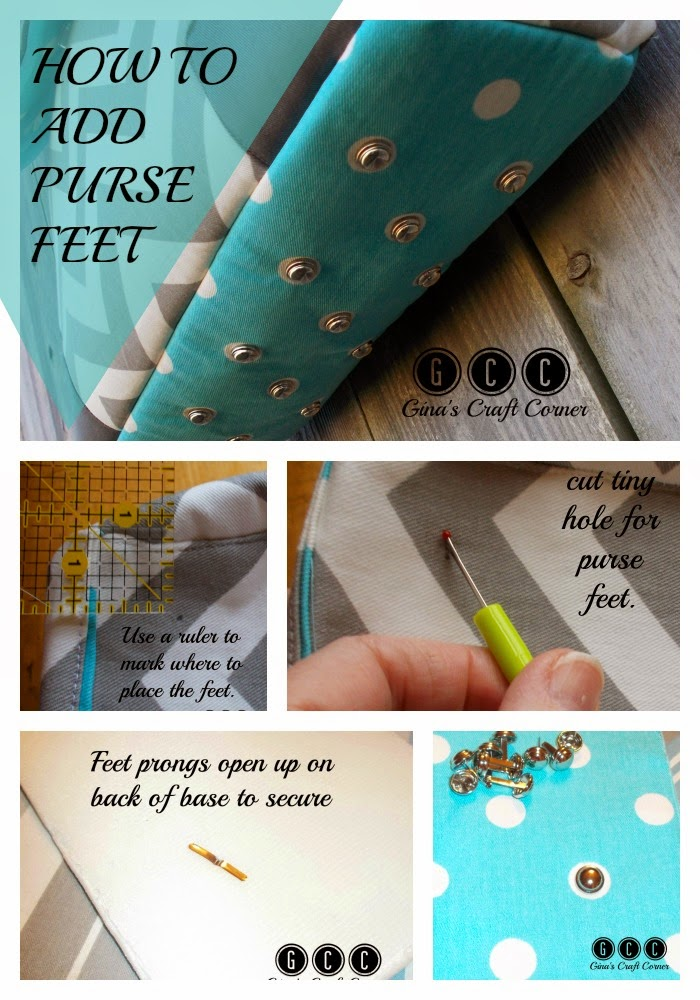 http://ginascraftcorner.blogspot.com/2015/02/how-to-add-purse-feet-to-your.html