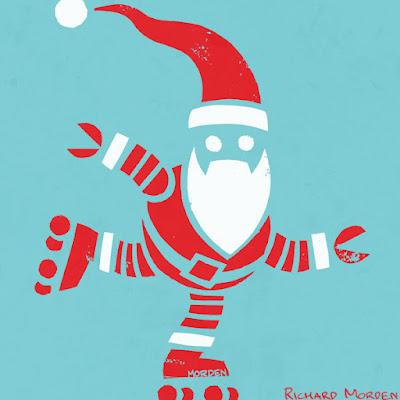Roller Skating Robot Santa Stencil art