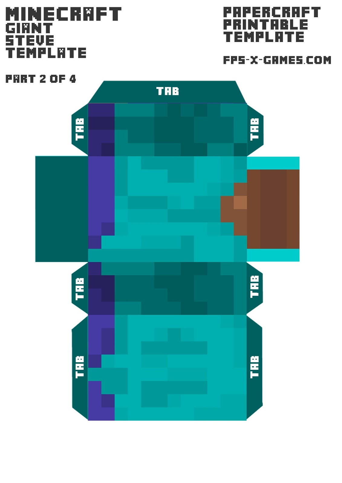 large sized minecraft steve papercraft body Top Result 43 Beautiful Minecraft Steve Paper Template