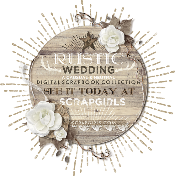 Rustic Wedding Digital Scrapbooking Kit