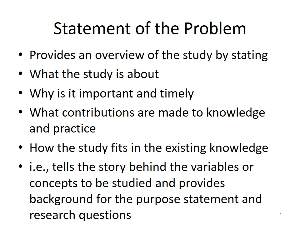 Research Methodology  Statement Of The Problem Notes By Dr Adam J