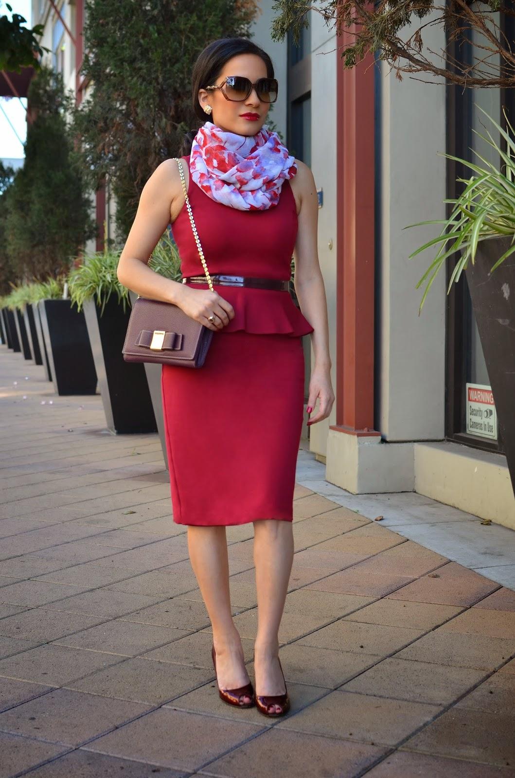 Armani Exchange Burgundy Peplum Dress Ivanka Trump Handbag Vera Wang Floral Scarf Maroon Stuart Weitzman Heels Gucci Sunglasses