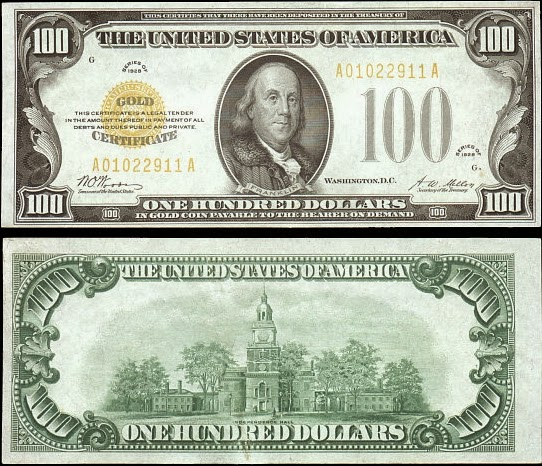 """""""Золотой сертификат"""" на 100 долларов, 1929 год"""