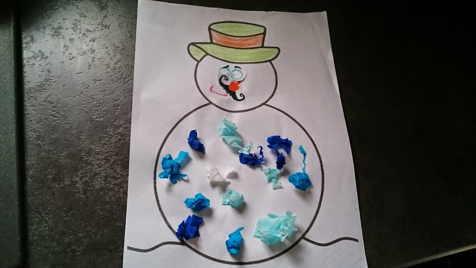 Fripouilles et gribouilles bonhomme de neige en papier cr pon - Bonhomme de neige en papier ...