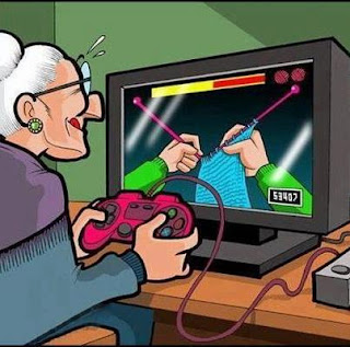 old lady playing game