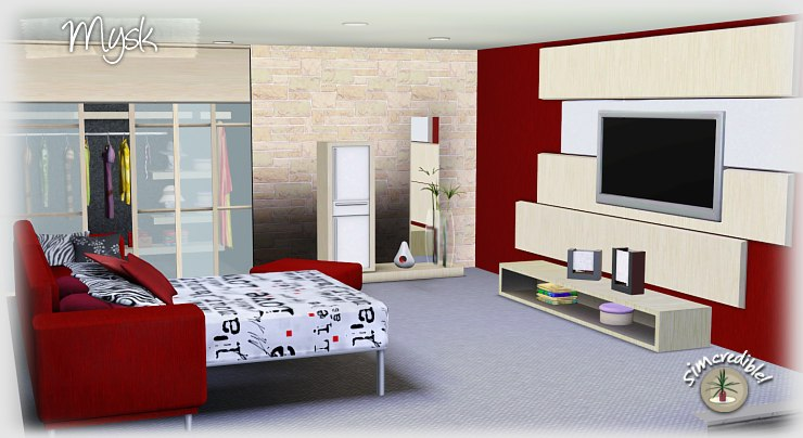 My sims 3 blog mysk bedroom set by simcredible designs for Sims 3 master bedroom ideas