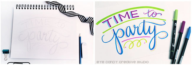 time to party, hand lettering, tombow markers, design team project
