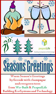 Warm Season's Greetings by fireside with champagne and evergreen trees from Wo-Built & PeapodLife