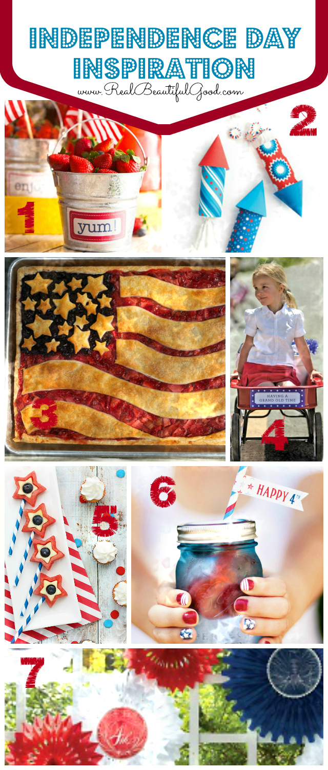 Happy 4th of July!  Independence Day Inspiration Source Sites and attributions at www.realbeautifulgood.com