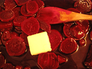 Pat of Butter on Top of Glazed Beets